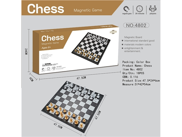 Magnetic gold silver chess