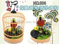 厂家直销 圆顶仿真灯光音乐声控鸟笼 电动声控鸟 热销儿童玩具