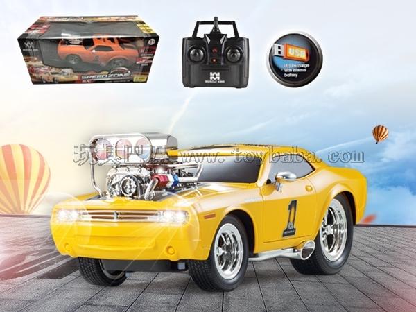 遥控车2.4G 六通USB内置电池带音乐遥控肌肉改装赛车1:16