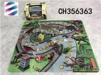 恐龙进城游戏地毯 益智恐龙棋类游戏玩具 防滑地毯