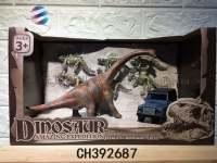 合金恐龙套装 大腕龙加小恐龙加车子组合玩具 仿真恐龙模型玩具