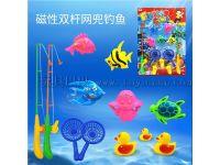 儿童钓鱼玩具磁吸双竿钓鱼套装双兜戏水玩具钓鱼磁铁鱼竿澄海玩具
