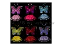 儿童节演出服装表演道具双层发光天使蝴蝶翅膀四件套