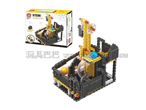 龙越拼插电动积木玩具 B724高低位循环传球204片