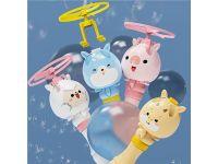 夏季新款儿童一键发射竹蜻蜓冲天飞天泡泡机户外夜市广场地摊玩具