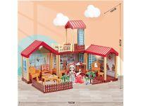 儿童女孩娃娃屋灯光别墅套装过家家生日礼物玩具