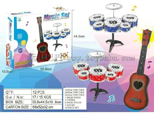 二合一爵士鼓吉他组合,蓝色红色