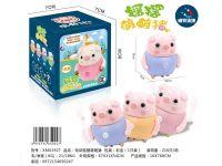 电动带磁摇摆萌萌猪跟随小动物玩具