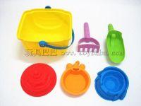 儿童玩具沙滩玩具套装软胶方桶挖沙玩具系列+5件装(2色混装)