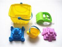 儿童玩具沙滩玩具套装软胶方桶挖沙系列+4件装(2色混装)