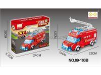 电动万向(滑行)二种功能DIY积木拼装消防车带灯光英文歌