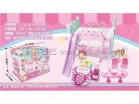小女童粉色屋儿童创意拼装床电话女孩玩具过家家快乐宝贝