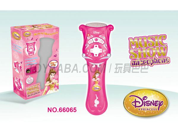 66065芭比玩具迪士尼玩具冰雪公主智力玩具电动麦克风玩具66065公主玩具冰雪公主玩具麦克风玩具话筒电动音乐麦克风14首歌灯光带MP3插口玩具