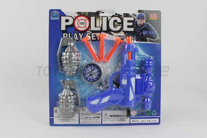警察套软弹枪配3粒软弹手雷指南针