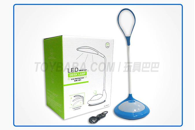 触摸蓝色/白色园形USB锂电充电台灯带夜灯