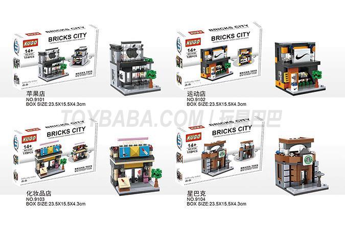 JIEGO杰高积木LEGO alike bricks兼容乐高积木街景积木套装110+PCS