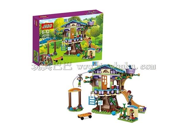 杰高新品JIEGO公主积木米娅的树屋女孩系列积木套装365PCS
