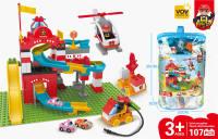 消防轨道兼容乐高大颗粒积木 益智积木玩具(107PCS)