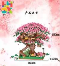 樱花树屋建筑模型积木花摆件