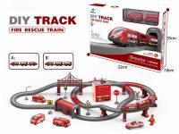 电动消防轨道火车套(轨道带声)2款 92PCS