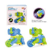 新款卡通电动大象带灯光音乐电动转弯 两色混装