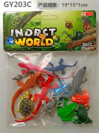 12只PVC喷漆爬行动物 动物模型玩具