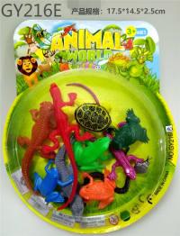 10只PVC喷漆爬行动物 动物模型玩具