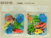 6只pp移印热带鱼 动物模型玩具