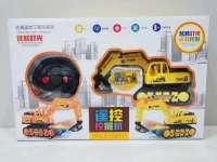 遥控挖掘机儿童玩具工程车仿真玩具带灯光地摊玩具直播供货