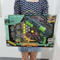 儿童射击软弹枪玩具空气动力射击配小恐龙礼盒装培训班礼品玩具