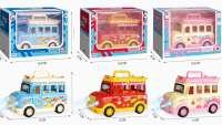 1:32儿童合金卡通车玩具仿真回力开门声光小汽车男 Q版餐车模型